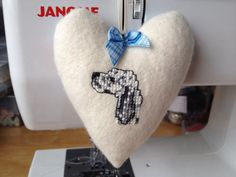 Hanging Fabric Heart hand embroidered with an English Setter on Etsy, £8.50