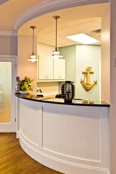 Like the frosted glass door and clean colors -- Front Desk.Trotter & Patel Pediatric Dentistry and Orthodontics Canton GA Chiropractic Office Design, Healthcare Design, Chiropractic Clinic, Clinic Design, Law Office Design, Office Plan, Office Ideas, Optometry Office, Medical Office Decor