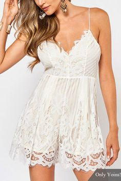 Sexy V Neck Lace-up Back Strappy Lace Playsuit in White
