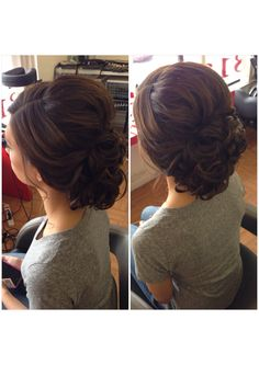 Curly bun, low curly bun updo