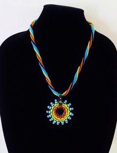 Beaded Rope Necklace OOAK Lampwork Focal Bead by DiggityDogStudio
