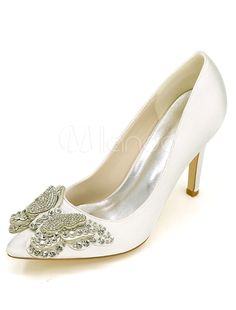 c45b1deba4 Champagne Wedding Shoes High Heel Pumps Satin Slip On Pointed Toe  Rhinestones Butterfly Bridal Shoes