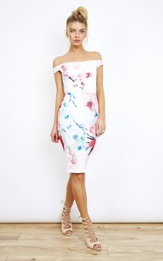 6027558812 Off Shoulder Floral Bodycon Dress - Lilah Rose - SilkFred