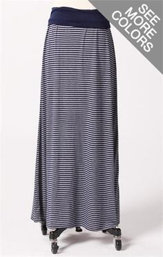 Stripe knit maxi skirt with contrast fold-over waistband  Can be worn as a skirt or a dress