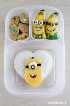 One in a Minion Valentine's Day Lunch | OneCraftyThing.com - packed with #easylunchboxes containers