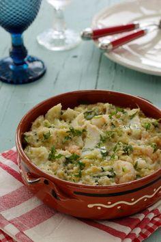 Cinco Quartos de Laranja: Açorda de bacalhau com camarão e coentros