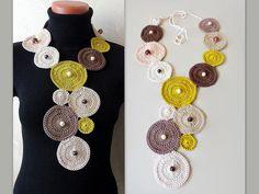 Crochet Necklace Geometric Circle long necklace Crochet Neck | Etsy