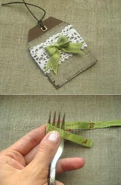"""An easy way to make tiny bows. Best with ribbon about 1/4"""" wide. The page is in Russian but all you need to do is follow the pictures. Click on the button at top right of the web page that this link takes you to.  It'll say подробнее.  The back side of the fork will be the finished side of the bow."""