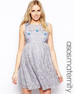 ASOS Maternity Lace Skater Dress With Pretty Embellishment