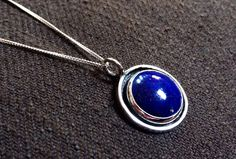 Handcrafted in USA. King Lapis Lazuli Necklace, Blue Lapis Silver Pendant, EGE Necklace, Ready To Ship, Free Domestic Shipping Isn't this the most beautiful blue you've ever seen?  Available now. $82 + Free Domestic Shipping Find this necklace here: https://www.etsy.com/listing/240046962/king-lapis-lazuli-necklace-blue-lapis