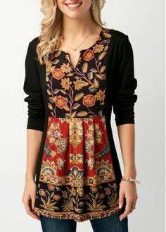 3eca97f44 Great casual and fun print on black Grey Blouse, Shirt Blouses, Tops Online,