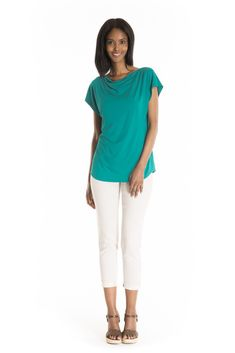 The Chamerion Top Solid - women's spring summer fashion turquoise bamboo jersey top Fukushima, Basic Tops, Cowl Neck, Spring Summer Fashion, White Jeans, Bamboo, Turquoise, Fabric, Pants