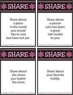 Women bond and build relationships when they share conversation.   Use this sharing icebreaker as a conversation starter at a party, girls night, or women's meeting.