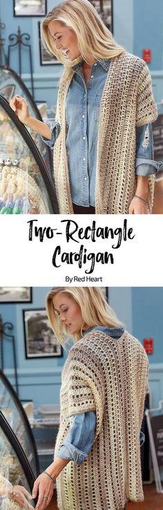 Two-Rectangle Caridgan free crochet pattern in Unforgettable yarn.
