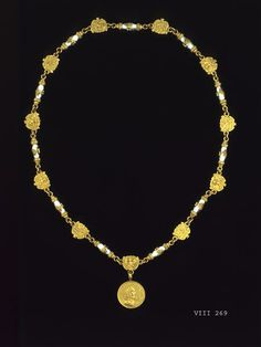 1582-91 German: Breast chain and medal of Brandenburg Princess Sophia commemorating her marriage to Prince Christian I. of Saxony