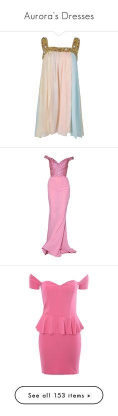 """Aurora's Dresses"" by disneydressing ❤ liked on Polyvore featuring dresses, vestidos, women, overlay dress, embellished dress, sleeveless chiffon dress, chiffon overlay dress, pink sequin dress, gowns and long dresses"