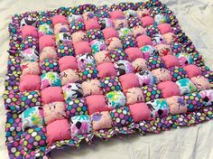 A Bubble Quilt with elephants and dancing sock monkeys, how cute is this??  Made by MichellesEye