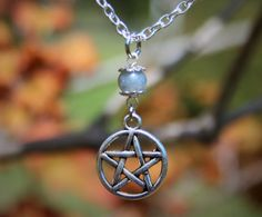 Handfasting Long Triquetra Necklace Opalite Necklace Pagan Ritual Crescent Moon Statement Necklace Wiccan Jewelry
