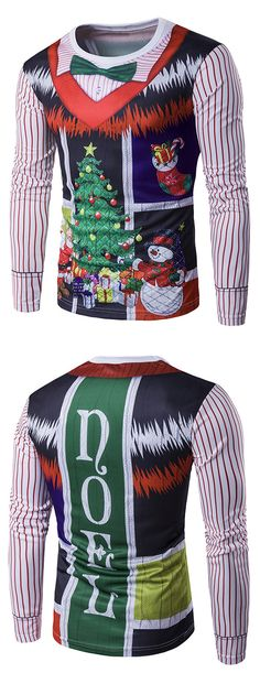 424dac7c95c4 Long Sleeve 3D Christmas Bow Tie Costume Faux Twinset Print T-Shirt