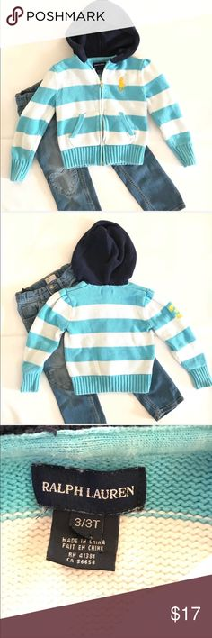 Blue and white striped girls hoodie by Polo Ralph •Ralph Lauren like new condition striped zip down hoodie  •Excellent used condition  •Size 3T  •I am a: Posh Ambassador, top 10% seller, top rated seller, Posh mentor & ship same day/next day!  ⭐️❤️FREE Matching hair accessory with purchase!❤️⭐️ •Comes from smoke & pet free home •Browse my closet for dozen of amazing designers such as.. tucker + Tate, Tea Collection, Mini Boden, UGG, GAP, Juicy Couture, Lululemon & many more! Polo by Ralph…