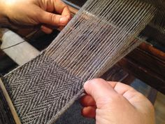 Finnish Iron age textile with tubular selvages, woven with horizontal loom (old model with pulleys)