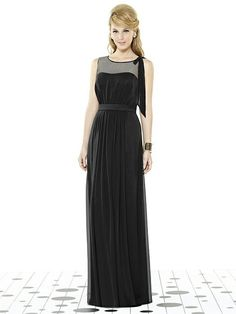 After Six -  248.00 Full length sleeveless bridesmaid dress in lux chiffon  has sheer top over 4fcf0c08df2e