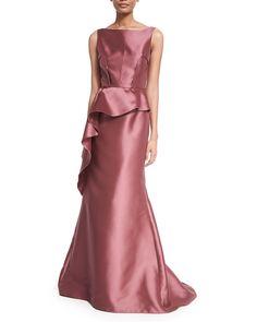 Carmen Marc Valvo Sleeveless Peplum Ball Gown, Women's, Size: 2, Pink                                                                                                                                                      More