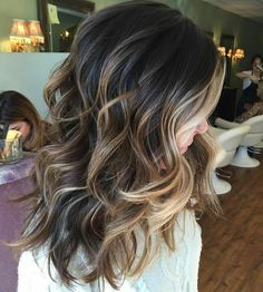 Play/ brown blonde hair, blonde balayage on brown hair, ombre for dark hair Fall Hair Color For Brunettes, Fall Hair Colour, Highlighted Hair For Brunettes, Medium Length Hair Cuts With Layers, Medium Layered, Long Layered, Medium Cut, Medium Hair Styles For Women With Layers, Medium Length Ombre Hair