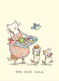 Anita Jeram Two Bad Mice Greeting Cards: Tea and Cake I Love Cats, Crazy Cats, Cute Cats, Anita Jeram, Image Chat, Arte Sketchbook, Photo Chat, Tea Art, Cat Drawing