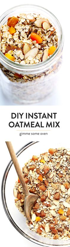 Learn to make your own homemade Instant Oatmeal Mix in just 5 minutes with this easy, versatile, healthy, and tasty recipe. Perfect for a quick breakfast or snack! | gimmesomeoven.com