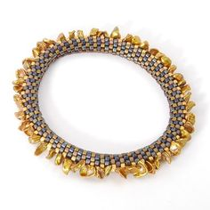 Claire Kahn, Bangle, Cylindrical Miyuki Beads with Petal Shaped, Bronze Colored Pearls