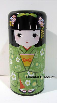 "Japanese 6"" Green Kimono Kokeshi Doll Tea Canister Tin Container, Made in Japan | eBay"