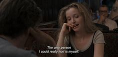 "Before Sunrise quotes,Before Sunrise Director: Richard Linklater Stars: Ethan Hawke, Julie Delpy, Andrea Eckert ""The only person I could really hurt is myself. Before Sunrise Quotes, Before Sunset, 90s Movies, Good Movies, I Movie, Movie Scene, Watch Movies, Cinema Quotes, Film Quotes"