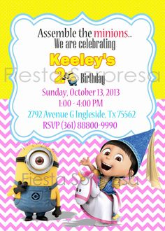 Despicable Me Invitation Minions Invitation by FiestaSorpresa
