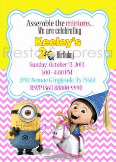 Despicable Me Invitation Minions Invitation by FiestaSorpresa