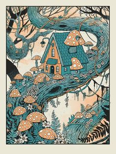 Mushroom Treehouse Colored version is a 18 x 4 color silkscreen which is hand printed in our shop. Standard frame size Ships from Atlanta, GA rolled and packed in a tube. Art And Illustration, Fuchs Illustration, Food Illustrations, Pretty Art, Cute Art, Arte Inspo, Posca Art, Mushroom Art, Hippie Art