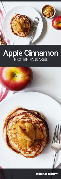 These Apple Cinnamon Protein Pancakes are a healthier twist on the fall breakfast favorite, with 13 grams of protein per serving. And, they taste like apple pie! Get the recipe here. // healthy recipes // breakfasts // fall foods // healthy pancakes // comfort food // apples // weekend brunch ideas // Beachbody // BeachbodyBlog.com