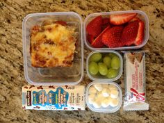 Day 7- meat lovers pizza, strawberries, grapes, marshmallows, chocolate milk, cereal bar