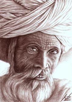 "Saatchi Online Artist Nicole Zeug; Drawing, ""Man from Rajhasthan"" #art"