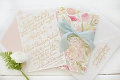 Kara Anne Paper / Gold Foil and Watercolor Wedding Suite