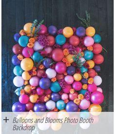 Balloons and flowers party backdrop / photo backdrop. How pretty - a hen party idea? Diy Ballon, Ballon Party, Party Kulissen, Party Time, Party Ideas, Casino Party, Diy Wedding Backdrop, Diy Backdrop, Photo Booth Backdrop
