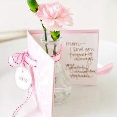 Mom will love this cute card-and-flower combo. More Mother's Day card ideas: http://www.bhg.com/holidays/mothers-day/cards/cards-for-mom/?socsrc=bhgpin042812mothersdaycards