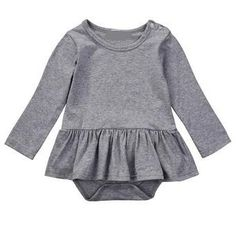 This gray one piece baby girl dress is a must have for her closet. As comfortable as your favorite T-shirt and a classic gray, she is sure to get a lot of wear from this dress. Featured here with our Arrow knotted headband. Fits true to size.
