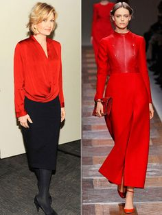 Ignite your look with fiery crimson: Diane Sawyer/Valentino F/W 2012