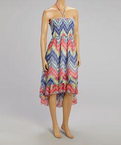 Look what I found on #zulily! Red & Blue Zigzag Hi-Low Halter Dress #zulilyfinds