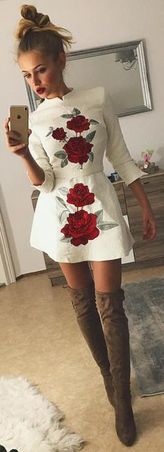 #winter #outfits white and red floral split-neck 3/4 sleeve mini dress
