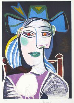Бюст женщины в синей шляпе 1939, 74×56 см.