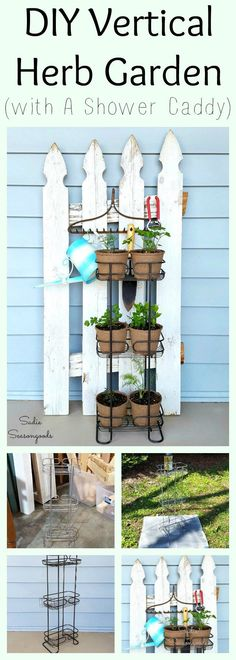 Vertical Herb Garden with a Standing Shower Caddy DIY front porch Spring herb garden using a repurpo Apartment Balcony Garden, Apartment Plants, Apartment Ideas, Transformers, Vertical Herb Gardens, Standing Shower, Diy Herb Garden, Herbs Garden, Herb Gardening
