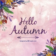 Hand painted hello autumn background Free Vector