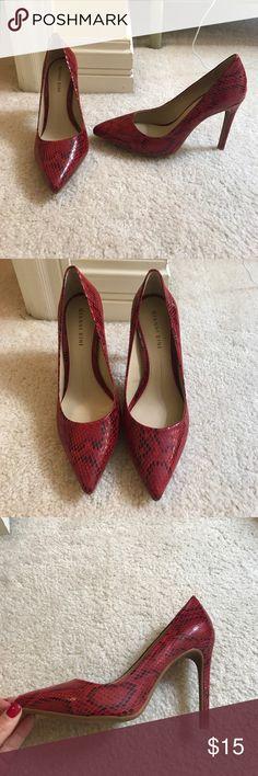 Gianni Bini Red Snakeskin Heels Never worn red snakeskin Gianni Bini heels Gianni Bini Shoes Heels